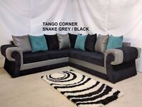 TANGO CORNER IN SNAKE GREY/BLACK SOFA + FREE FOOTSTOOL | 1 YEAR WARRANTY | EXPRESS DELIVERY ALL UK