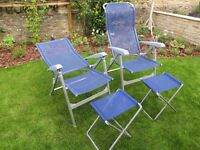 Reclining garden/ Camping Chairs with foot stools