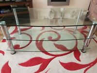 Glass and silver tv stand