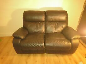 Black leather recliner setees