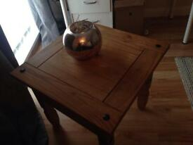 Solid heavy corona square coffee table selling cheap as needs cleaned £10