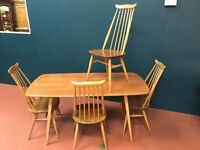 Ercol 'Plank' Dining Table & 4 'Goldsmith' Chairs. Retro Vintage Mid Century
