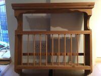 Solid wood, wall mounted dish rack