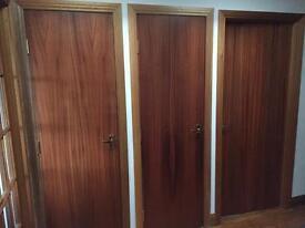 3 Sapele veneer doors, handles and hinges