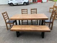 Rustic Industrial style dining table, chairs & bench * free furniture delivery *