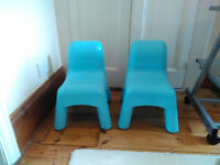 Two Unisex Solid & Sturdy Blue Early Learning Centre Kids, Childrens Chairs Very Good Condition ELC