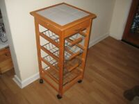 Nice Pine Kitchen Island Trolley With Drawer And Pull-Out Racks