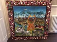 Large African canvas painting from Zanzibar