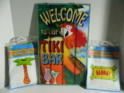 Tiki Bar Party Supplies (Tiki Bar Sign Luau Party Decor Inflatable Palm Tree Aloha Tropical Parrot)