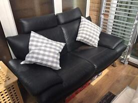 **FREE** Black leather 3 person sofa