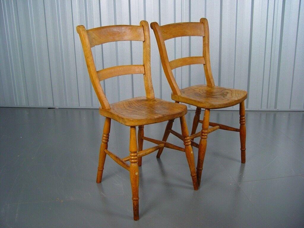 Two Vintage Farmhouse Chairs Mid Century Retro Furniture - Two Vintage Farmhouse Chairs Mid Century Retro Furniture In