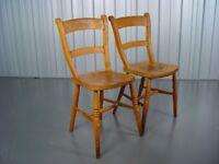 Two Vintage Farmhouse Chairs Mid Century Retro Furniture