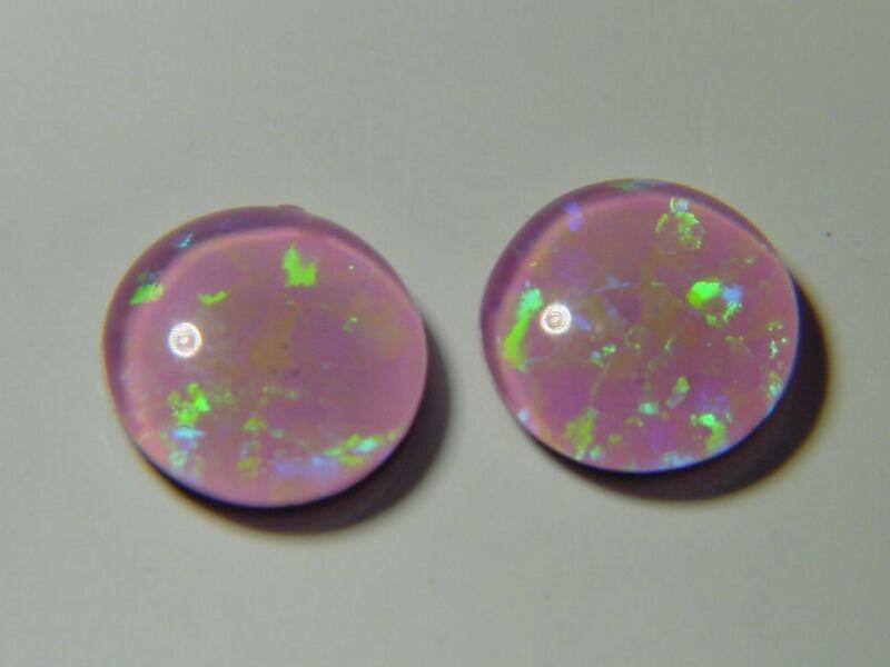 BUTW (2) Gilson Pink Opal 8mmx2mm round triplet cabochon gemstone lapidary 4652D