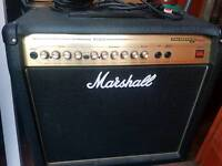 Marshall guitar amp with switch and pedals