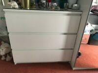 ikea malm white 3 draw unit