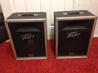 """Pair of Peavey 112 PA speakers. Passive 12"""" speakers with 1"""" compression horns."""
