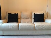 Cream leather suite (3+2 seater) - perfect condition