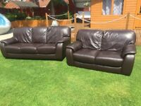 Real leather sofas 3 & 2 seater used but still vgc