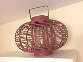 Large wooden lantern with candle holder