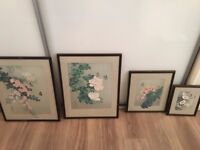 set of 4 chinese hand painted pictures on silk