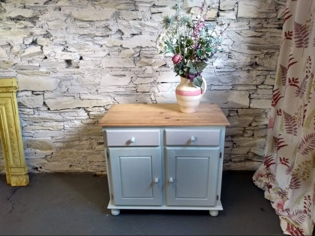 Solid Wood Freestanding Painted Kitchen Cupboard Pine Top Shabby