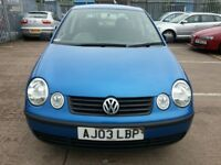 VW POLO 1.9 SDI 2003 REG 5DR HATCHBACK DIESEL BLUE