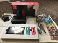 Nintendo Switch Neon console + 3 Games (less than 1 month old, boxed, receipt for warranty on all)