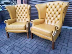 2x chesterfield wingback leather chairs. BARGAIN!