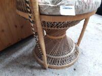 Upright wicker basket chair