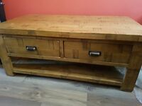 Solid Oak coffee table (oak furniture land) with four drawers and magazine shelf