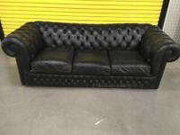 """Three seater black Chesterfield """"FREE LOCAL DELIVERY """""""