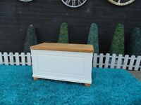 SOLID PINE FARMHOUSE BLANKET BOX PAINTED WITH LAURA ASHLEY PALE DOVE