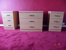 2 x 3 Drawer Bedside Drawers and Matching 3 Drawer Unit