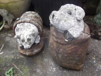 A Pair of Stone Pig Garden Ornaments