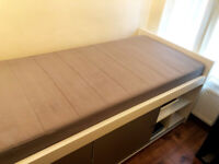 Ikea White Gloss Lux Single Bed with 3 x Storage