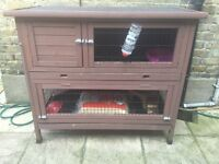 Two storey rabbit or guinea pig cage and other accessories