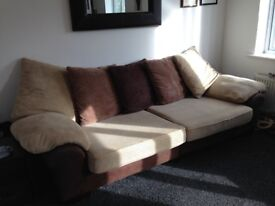 Soft Leather and Fabric 4 Seater Sofa