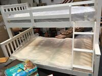 BEAUTIFUL TRIPLE WHITE WOOD BUNKBED (EX DISPLAY NEVER USED) WITH NEW QUALITY MATTRESSES