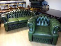 tup quality green leather chesterfield. large 3 setter and one armchair. perfect condition.
