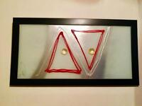 Original genuine Italian hand painting art on glass with frame