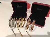 Cartier love bracelet bangle. Yellow rose white gold