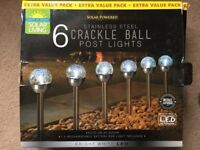 ( New and Sealed ) Solar Living Crackle Ball Post Lights 6pk - White