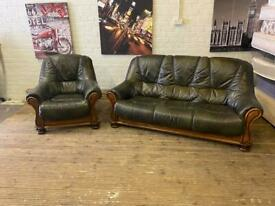 VERY STYLISH GREEN LEATHER SOFA SET IN EXCELLENT CONDITION 3+1 seater