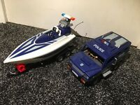 Playmobile boat and land rover