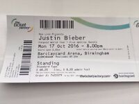 Justin Bieber tickets x2 Monday 17th October Barclaycard Arena Birmingham