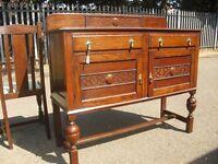 Highly Decorative 1920's Oak Sideboard Side Cabinet Vintage