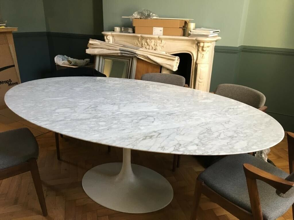 save off 2ea57 5d8c4 Oval Marble Dining Table Tulip Good Condition | in Earls Court, London |  Gumtree