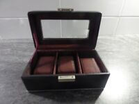 Gents Black Decorative - 3 Watch Display/storage box - Excellent Gents Gift