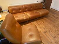 Retro Tan leather 3piece sofa ,