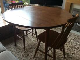 DINETTE Round Drop Leaf Dining Table and 2 Chairs